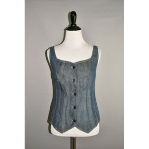 TALBOTS NEW Blue Linen Denim Vest